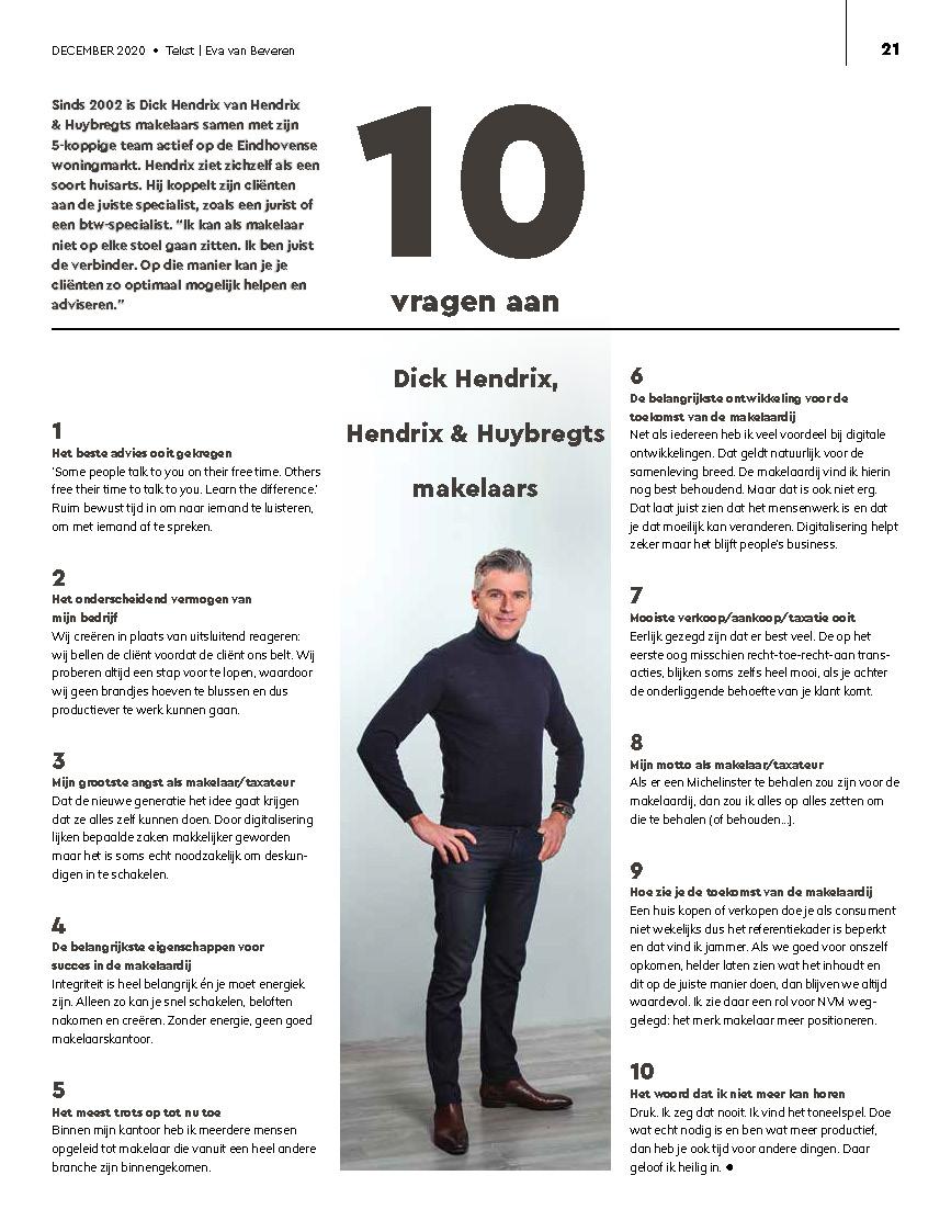 Hendrix & Huybregts Makelaars - Makelaar Eindhoven - Interview Dick Hendrix NVM Magazine